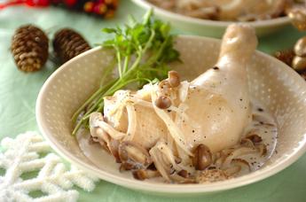 鶏とキノコのフリカッセ