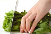 菊菜とエノキのお浸しの下準備1