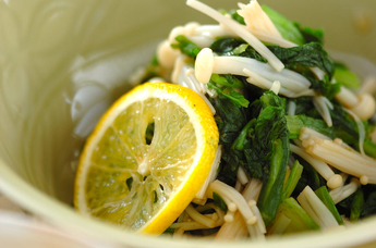菊菜とエノキのお浸し