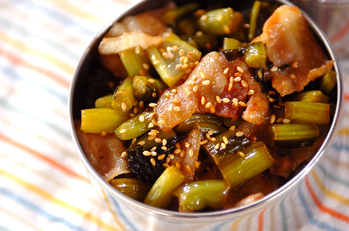 豚肉と野沢菜炒め丼