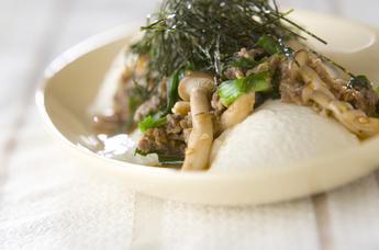 豆腐の牛肉のっけ