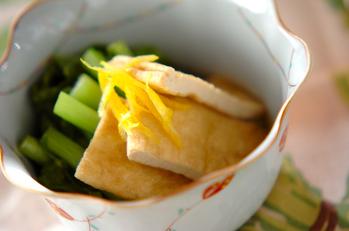 カブの葉と油揚げの煮物