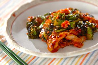 豚肉と菜の花のピリ辛炒め