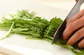 塩もみ水菜とツナのマヨ和えの下準備1
