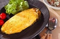 納豆チーズカレーオムレツ