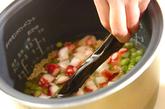 エンドウ豆とタコの玄米ご飯の作り方1