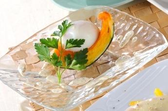 カボチャと温泉卵のサラダ