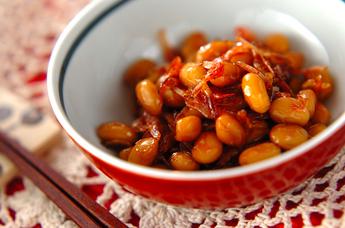 大豆と干し桜エビの煮物