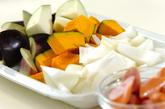 トロトロ卵入り夏野菜のトマト煮の下準備1