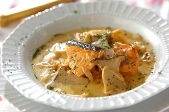 鮭とエリンギのカレークリーム煮