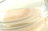 レンコンとエビのみそ汁の下準備1