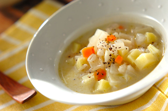 押し麦の豆乳スープ
