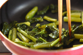 野沢菜と豆腐の炒め物の作り方1
