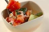 トマトとチーズのおかか和えの作り方2