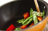 キヌサヤのソース炒めの作り方1