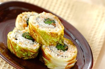 ロール白菜のゴマ油炒め