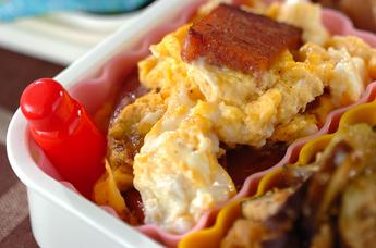 ポークランチョンミートと卵の炒め物