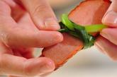 焼豚の小松菜結びの作り方2