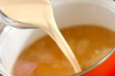 ジャガイモとハムの豆乳みそ汁の作り方2