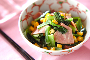 青菜とハムのマヨポン和え