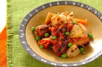 根菜と揚げ天の炒め煮