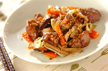レバーとシイタケの炒め物