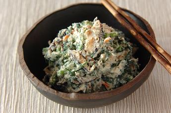 京のおばんざい 焼きシイタケと春菊の白和え
