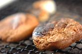 京のおばんざい 焼きシイタケと春菊の白和えの作り方1