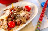 キノコと煮豆の辛炒め物