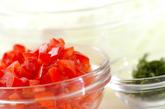 カツオのたたきトマトショウガドレッシングの下準備2