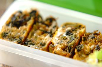 小松菜とジャコの卵焼き