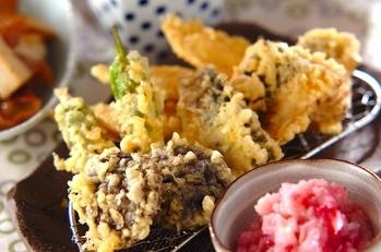 アジの梅おろしのせ天ぷら