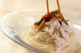 鶏ささ身と梅キュウリのゴマダレ素麺の作り方5