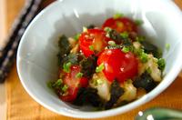 たたき長芋とプチトマトの和え物