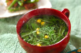 水菜とコーンのスープ