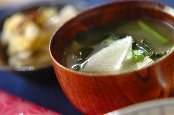 小松菜と大根のみそ汁
