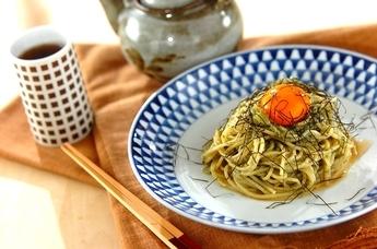 ワサビ風味の海苔だくスパゲティ
