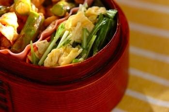 スクランブルエッグと水菜のサラダ
