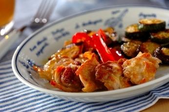 鶏肉と野菜のグリルガーリックソース