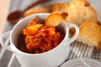 サバとカボチャのトマト煮