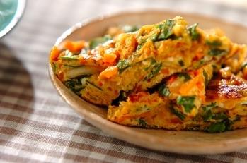 野菜とキムチの卵焼き