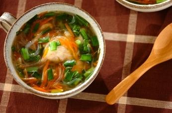 エビ団子と春雨のスープ