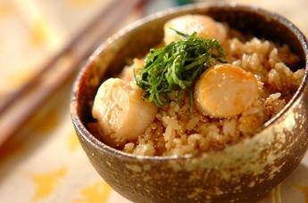タラコとホタテの炊き込みご飯