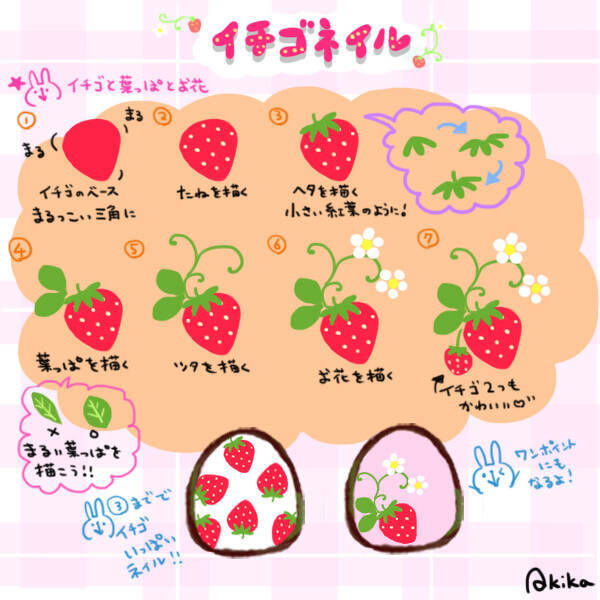 フルーツ柄でも子供っぽくなりすぎない イチゴネイルのやり方 イラスト ローリエプレス