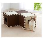 猫の秘密基地!? 自由な形に組み立てられる猫トンネルが便利