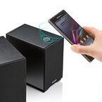 サンワダイレクト、NFCやapt-Xに対応した木製ブックシェルフ型スピーカー