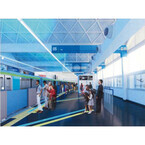 東京モノレール浜松町駅がリニューアル - 青の天井に羽田発国内線情報も発信