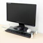 上海問屋、机のスペースを有効活用できるガラス製デスクボード