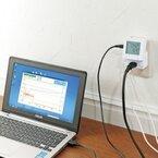 サンワサプライ、機器とコンセント間に接続して電力を測れるワットモニター