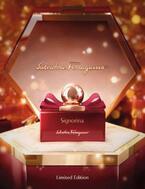 サルヴァトーレ フェラガモの人気香水「シニョリーナ」が真紅のドレスを纏いクリスマスデザインに
